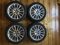 """Set of 4 Volvo V50 S40 C30 7 x 17"""" Spartacus Alloys in good condition, tyres almost new."""