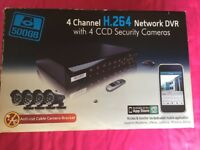 K GUARD 4 CHANNEL H.264 NETWORK DVR WITH 4 CCD SECURITY CAMERAS