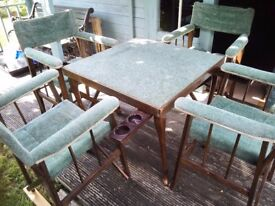 1940 Bridge table and 4 chairs. Upholstered in sage green chenile