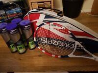 Tennis racket and tennis balls