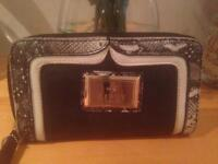 LIPSY BLACK LEATHER WITH SNAKE SKIN PRINT PURSE