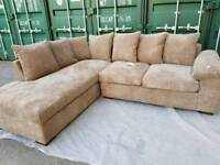 NEW Latte Brown Beige Corner Chaise Cord Sofa DELIVERY AVAILABLE