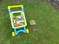 Toy shopping trolley and play groceries