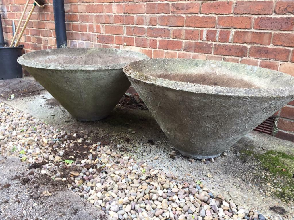 Cone Shaped Large Concrete 1960 S Rare Planters In
