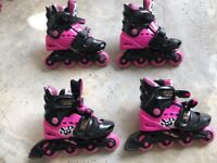 Girls Roller Blades x Two Sets inc Knee , Elbow & Wrist Guards