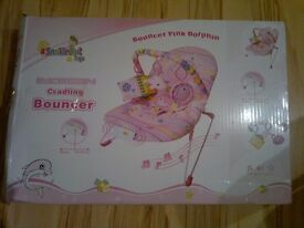 BABY BOUNCY CHAIR, BOUNCER , BOUNCING ROCKER PINK DOLPHIN