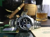 Silver Rolex Daytona With Black Face Comes Rolex Baged and Boxed With Paperwork