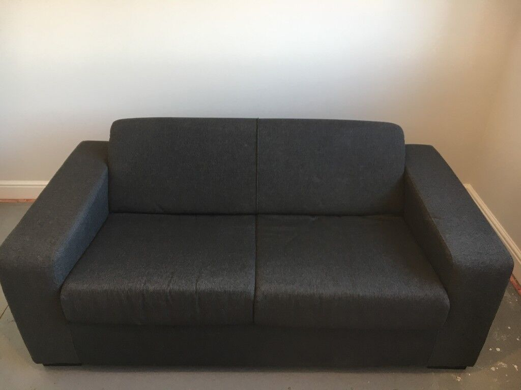 Argos Like New Charcoal Fabric 2 Seater Sofa Bed With Pull