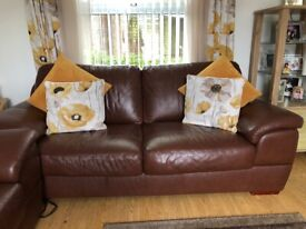 Brown real leather suite