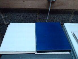 Ceramic tiles (white and navy blue)