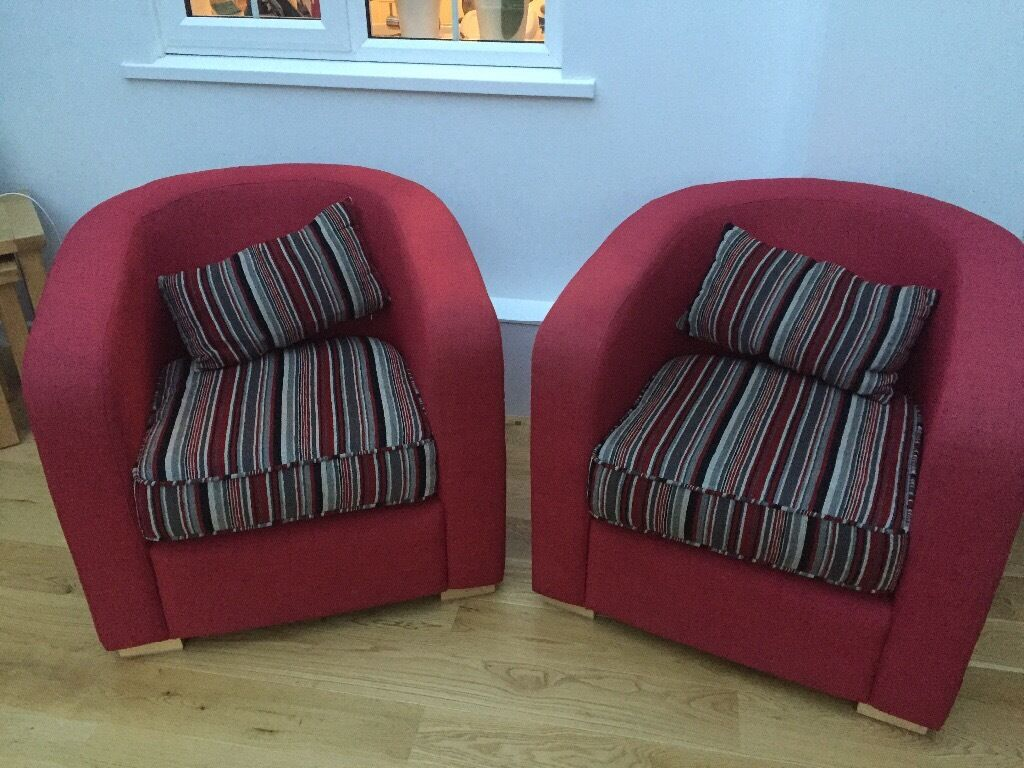 2x red Bucket Armchairs