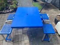 Aluminium / plastic Picnic Garden Camping Folding Portable Table and Bench Chairs Set.