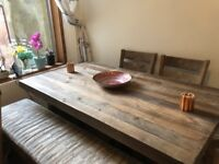 Dfs reclaimed wood style table with bench and chairs