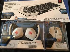 Mad Catz Wireless Bundle, Headphones, Mouse + Keyboard for PC, TV, Mac ,Mobile+Gaming. New in Box