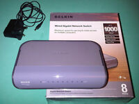 BELKIN NETWORK SWITCH Gigabit Speed - Plug & Play - 8 PORTS: Well Cared for - EXCELLENT CONDITION