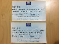 Two individual tickets to World Snooker Championships for Sunday 23 April 2017 - not together.
