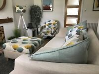 For sale 3-seater sofa, swivel chair with matching footstool. £125
