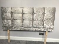 Crushed velvet headboard for double bed