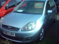 colchester ford fiesta 1.2 , 5 door , 07, lovely light metalic blue, 01206 397415