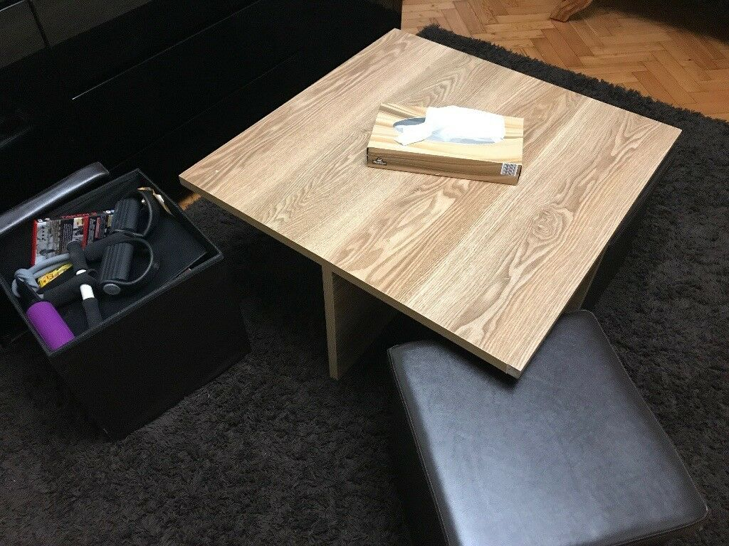 Wooden Coffee Table With Leather Pull Out Seats And Storage