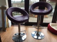 2 x Purple gas lift bar/breakfast stools
