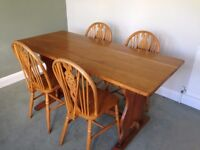 Oak refectory table and 4 wheelback chairs