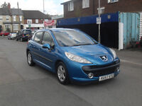 peugeot 207 5 door lovely blue e/windows cllocking a/c drives spot on alloy wheels low insurance
