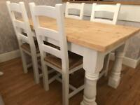 Amazing 5ft Shabby Chic Chunky Farmhouse Pine Table and 4 Chairs