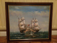 oil painting - battleship
