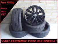 "2372 Genuine 18"" VW Vancouver Golf Black Alloy Wheels & New Tyres 5K0601025L"
