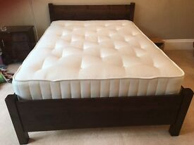 WARREN EVANS OAK BED FRAME WITH ROYAL DOUBLE MATTRESS