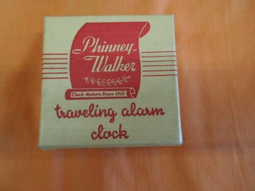 Vintage TAN Phinney-Walker Traveling Alarm Clock Radium Dial Germany in the BOX!