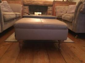 NEXT footstool in cream leather to match Sherlock Wing chair