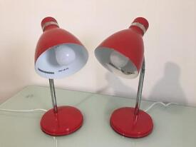 Pair of Red Desk Lamps with Bulbs