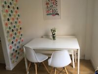 White Dining Table bench and 2 chairs