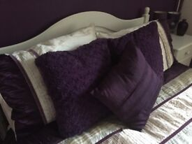 Purple bedroom picture, curtains and matching accessories including 2 x bedside lamps, 3 x cushions