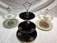 3 China Cake Stands - 1x3 tier, 2x2 tier.