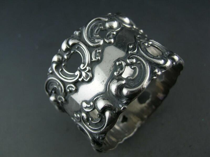 Ornate Victorian Sterling Silver NAPKIN RING pierced w/ scroll patterns