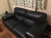 Two seater leather sofa & chair- navy
