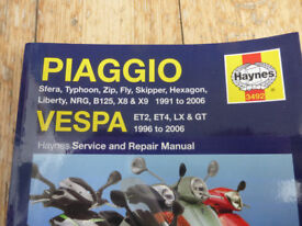 Haynes Vespa/Piaggio scooter repair manual in good condition