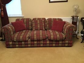 Luxurious large chenille burgundy / red sofa