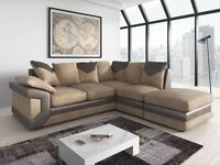 *14-DAY MONEY BACK GUARANTEE!** - Dino Itailan Cord Fabric Corner Sofa Suite SAME/NEXT DAY DELIVERY!