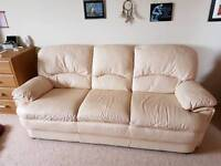 3 seater neutral leather sofa settee