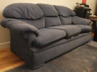 SPACIOUS 3 SEATER SOFAS..SETTEES, BLUE DRALON FABRIC.WITH FIRE CERTIFICATE