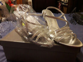 John Lewis Size 5 Silver Strappy Heels brand new