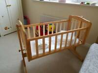 Solid wood Kiddicare rocking crib with John Lewis bumper & coverlet set and 2 John Lewis sheets