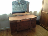 Vintage Dressing Table 1940s Stripped Wood