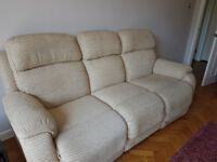 3 seater electric recliner, 2 seater electric recliner and foot stool cream fabric sofa suite