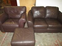 Stunning Brown Leather 2 Seater Sofa Set includes Armchair and Footstool