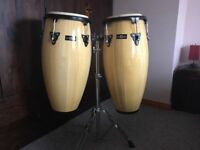 "Conga Drums 10"" + 11"" Set with Stand by Gear4music."